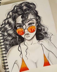 Ready for Summa  LOL but where I am it already feels like it   Goodnight Loves Tools Used: Copic Markers  Regular Felt tip pen Red Non photocopy pencil  Graphite Pencil --------------------------- #art #artist #sunglasses #hair #curlyhair #draw #arts_help #drawing #drawings #illustration #sketch #orange #color #fashion #anime #disney #artwork #goodnight #love #happy #instahub #instamood #instaart #inspiration #instaartist #copic #Godisgoodallthetime