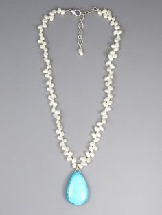 Freshwater Pearl Turquoise Necklace (4411) Native American Turquoise Jewelry by Southwest Silver Gallery.com