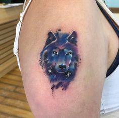 Galaxy wolf tattoo by Jason Humphrey