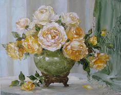Bouquet of mature yellow roses by Russian artist, Oksana Kravchenko (1971) Russia, Novouralsk