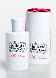 """Miss Charming fragrance by Juliette has a gun : """"The perfume of a virgin witch, docile and provocative, elegant and sensual. At first glance, the miss appears rather innocent. But don't trust your intuition...If she's a rose, don't forget she got spines. A fragrance that combines ingenuousness and lucidity.  (Main ingredients : moroccan rose, musk, red fruits)"""""""