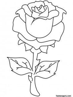 Printable Valentines Day Rose Coloring Pages Fabruar