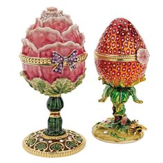 2 Piece Gardens Treasures Faberge Style Enameled Eggs Set