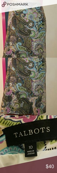 Talbots Paisley Pencil Skirt Gorgeous Talbots pencil skirt. Multicolored paisley pattern. Blue purple navy lime turquoise tan and black. Fully lined. Kick pleat and zipper in back. Size 10. Waist: 34 inches. Lenght: 23.5 inches. Talbots Skirts Pencil