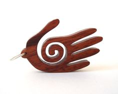 Southwestern Petroglyph Jewelry Healing Hand Pendant Necklace Rock Art Themed Hand Cut Scroll Saw Bubinga