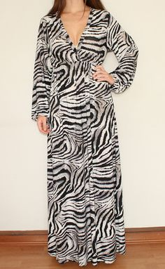 Long Sleeve Maxi Dress Sundress in Gray Zebra Animal print. $39.00, via Etsy.