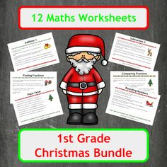 12 Christmas themed maths worksheets, covering a wide range of topics from addition using 1 digit numbers to comparing fractions using word problems. In total 10 topics are covered in this bundle as two addition and subtraction worksheets are included, each aimed at different level students.Includes both colour and black and white copies of each worksheet and each answer page!Suitable for Elementary school students (US) and Primary school students (UK).Inside you will find1 sheet of 6…