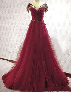 Burgundy A-Line Beading Prom Dress, Tulle Off