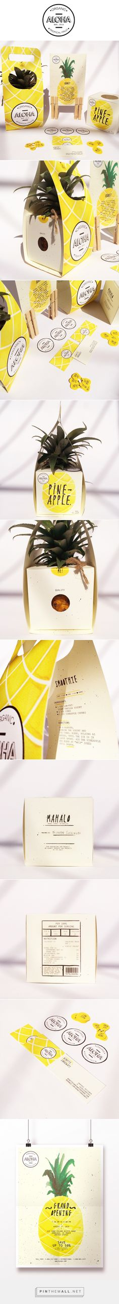 ALOHA Branding and Packaging, Ninette Saraswati. Packaging Box Design, Fruit Packaging, Cool Packaging, Packaging Design Inspiration, Brand Packaging, Product Packaging, Packaging Boxes, Package Design, Design Ideas