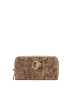 Glossy Snake-Embossed Zip-Around Wallet, Beige/Gold - Versace