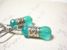 Teal earrings vintage glass dangle green onyx by pamelasjewelry, $24.00