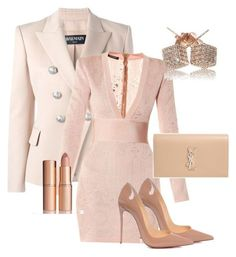 """Untitled #141"" by candicegeorge on Polyvore featuring Balmain, Christian Louboutin, Charlotte Tilbury, Yves Saint Laurent and Loushelou"