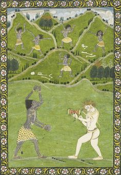 kali Dancing to Shiva's Drum India, Pahari, probably Mandi, circa 1850 Opaque watercolor heightened with gold on paper Mughal Paintings, Indian Paintings, Arte Shiva, Southeast Asian Arts, Hindu Festivals, Religious Images, Hindu Deities, Indian Artist, Hindu Art