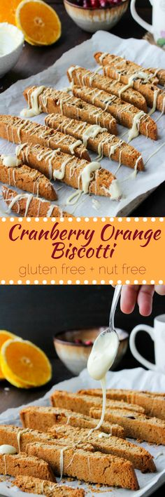 Cranberry Orange Biscotti - made with oat flour, fresh orange zest, and drizzle with white chocolate | gluten free & nut free