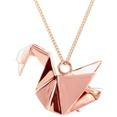 Origami Jewellery - Swan Necklace Sterling Silver Pink Gold Plated ($145) ❤ liked on Polyvore featuring jewelry, necklaces, rose gold plated jewelry, sterling silver jewellery, oxidized jewelry, polish jewelry and jewel necklace