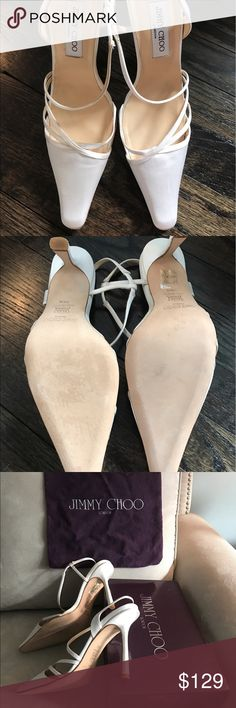 Jimmy Choo Size 9.5 wedding/Prom shoes Beautiful never worn (NEW IN BOX with Dustbag) Jimmy Choo Bridal Collection-off white satin pumps. Purchased as an extra pair for my wedding.  Perfect for wedding/prom/special event. I believe the Choo satins are dyeable. Jimmy Choo Shoes Heels