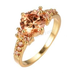 Sz-6-10-Champagne-Topaz-CZ-Engagement-Ring-10Kt-Yellow-Gold-Filled-Wedding-Band
