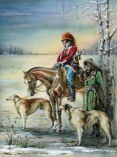 Alexander Dyogtev, a contemporary Russian artist. Russian Hunting with Borzois in Old Times. #borzoi #dogs #Russian
