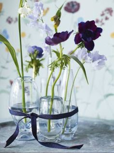 vases tied together with ribbon - lovely and simple
