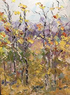 """Colorado MajestyPalette Knife Aspen Tree Impressionist Landscape Painting """"Colorado Majesty"""" by Colorado Impressionist Judith Babcock"""