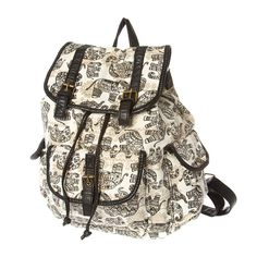 Bring the festival to school with a black and white elephant print backpack. Features one front and 2 side pockets, drawstring and flap snap closure, and adjustable straps.