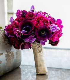 Gorgeous glam purple and pink bridal bouquet