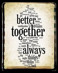 Wedding Anniversary Idea.  Better Together Lyrics  Jack Johnson  Word Art Print  by no9images, $15.00