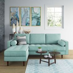 small living room designs are available on our internet site. Check it out and you wont be sorry you did. Living Room Turquoise, Teal Living Rooms, Living Room Sofa Design, Colourful Living Room, Living Room Grey, Living Room Designs, Blue And Green Living Room, Turquoise Couch, Teal Couch