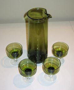 Vintage Swedish Modern Style Green Glass Cocktail Set - Sasaki Regency