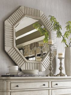 Selden Octagonal Mirror, part of the Oyster Bay collection by Lexington Home Brands #LHBDesign