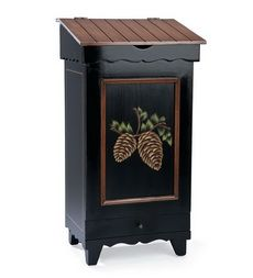 hand-painted-wood-storage-bin-with-pine-cone-design