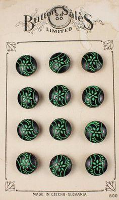 Antique Czech, glass flower buttons