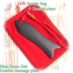 Gift bag & chart! Wholesale & Retail Traditional Acupuncture Massage Tool Fish Guasha Board Natural Black Bian-stone $16.88