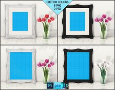 8x10 Frame on White Table Mockup T3 Ornate by TanyDiDesignStudio
