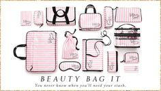 Beauty Accessories - Makeup Bags, Kits & Brush Sets at Victoria's Secret Victoria Secrets, Victoria Secret Makeup, Victoria Secret Bags, Pink Love, Vs Pink, Mochila Jansport, Cute Luggage, Pink Nation, Brush Sets