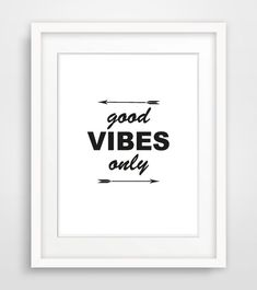"Printable Typography Quote Poster ""Good Vibes Only"" Inspirational Print Minimalistic Print Instant Download Wall Art on Etsy, £3.10"