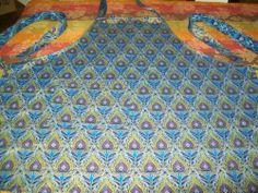 Handmade Bib Apron w/pocket Peacock Feathers w/Gold Outlining on Royal Blue #Handmade #Apron