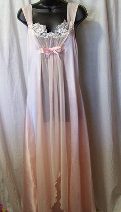 Romantic, Sexy Night Gown, Long Peachy Pink, Chiffon Satin, Bridal Honeymoon, Size Medium, Blanche