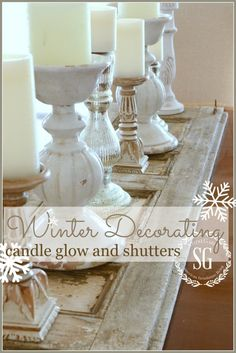 WINTER DECOR-adding candle glow and shutters- an easy way to add beauty-stonegableblog.com