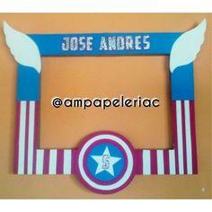 Hermoso marco para fotos Tema Capitán América! #MarcoParaFotos #CapitanAmerica…