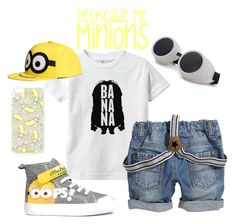 """""""Despicable Me - Minion Outfit - Boys"""" by tinywearco ❤ liked on Polyvore...The Shirt and the hat is cute."""