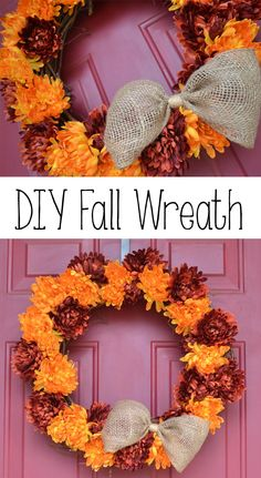 Hello Everyone! Fall is coming quickly, so I started out my fall projects with this flowery fall wreath. A few years ago, I made my first fall wre… Diy Fall Wreath, Fall Diy, Fall Wreaths, Wreath Ideas, Fall Crafts, Holiday Crafts, Diy Crafts, Holiday Decor, Wreath Crafts
