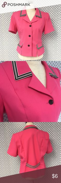 Vintage 80s Hot Pink Miss Dorby Blazer Excellent condition! Small pin sized stain on back as pictured. Women's vintage size 14P - does have shoulder pads Vintage Jackets & Coats Blazers