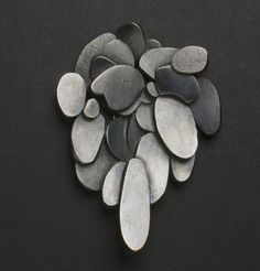 "Anna Wallis, New Zealand, 2007, ""Drip"" brooch, oxidized sterling silver."