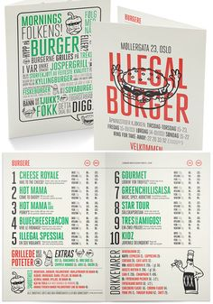 25 Inspiring Restaurant Menu Designs Designswan Com - really like the font, color blocking and layout.easy to read Design Typography, Design Logo, Design Poster, Brochure Design, Layout Design, Branding Design, Web Design, Design Ideas, Restaurant Branding