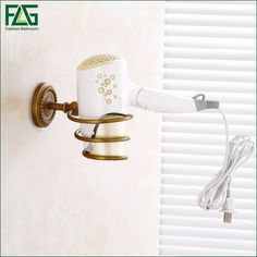 FLG Hot Sell Fashionable Professional Metal Houseware Salon Hair Dryer Stand Holder Storage Rack Shelf Bathroom Accessories  #Affiliate
