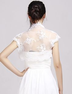 Elegant Lace Wedding Evening Jackets With Applique (More Colors Available) Bolero Shrug – USD $ 29.99