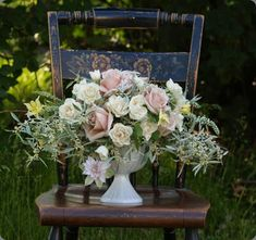 Stunning blush and white rose arrangement in a compote by alluring blooms #compote #flowers #blush #rose
