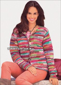 Fit just worn with pleasure! Warm multicolored jacket from melange yarns. Hook