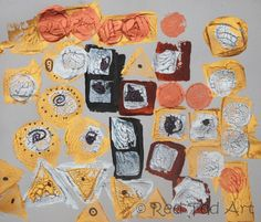 Klimt: Print Project-3 step process  Materials: gold, silver, black, sienna acrylics, potatoes, corks, black pen.  Layer 1: Potato Printing (or sponges, foam) cut into squares, triangles, rectangles, circles.  Layer 2: Cork & Potato Printing. Make the same shapes a little smaller. Use the cork for circles.  Layer 3: Add details, such as small dots, swirls and triangles with a black pen.